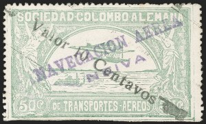 "Sale Number 1213, Lot Number 594, 1921-23 Provisional Surcharges (by Colomphil No.)COLOMBIA, 1921, (Hand) ""Valor 10 Centavos"" (Hand) on 50c Pale Green, Air Post Surcharge (Colomphil 3; Scott C19), COLOMBIA, 1921, (Hand) ""Valor 10 Centavos"" (Hand) on 50c Pale Green, Air Post Surcharge (Colomphil 3; Scott C19)"