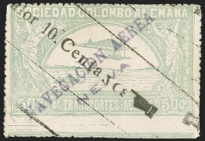 "Sale Number 1213, Lot Number 595, 1921-23 Provisional Surcharges (by Colomphil No.)COLOMBIA, 1921, (Hand) ""Valor 10 Centavos"" (Hand) on 50c Pale Green, Air Post Surcharge (Colomphil 3; Scott C19), COLOMBIA, 1921, (Hand) ""Valor 10 Centavos"" (Hand) on 50c Pale Green, Air Post Surcharge (Colomphil 3; Scott C19)"