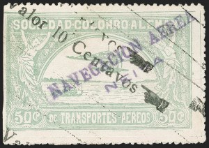 "Sale Number 1213, Lot Number 597, 1921-23 Provisional Surcharges (by Colomphil No.)COLOMBIA, 1921, (Hand) ""Valor 10 Centavos"" (Hand) on 50c Pale Green, Double Surcharge, Air Post Surcharge (Colomphil 3c; Scott C19 var), COLOMBIA, 1921, (Hand) ""Valor 10 Centavos"" (Hand) on 50c Pale Green, Double Surcharge, Air Post Surcharge (Colomphil 3c; Scott C19 var)"