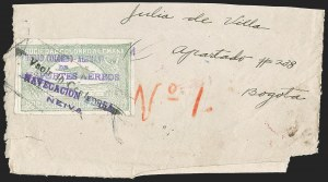 "Sale Number 1213, Lot Number 599, 1921-23 Provisional Surcharges (by Colomphil No.)COLOMBIA, 1921, (Hand) ""Vaolr 10 Centavos"" (Hand) on 50c Pale Green, Misspelled ""Valor"", Air Post Surcharge (Colomphil 4; Scott C19b), COLOMBIA, 1921, (Hand) ""Vaolr 10 Centavos"" (Hand) on 50c Pale Green, Misspelled ""Valor"", Air Post Surcharge (Colomphil 4; Scott C19b)"