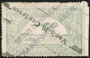 "Sale Number 1213, Lot Number 602, 1921-23 Provisional Surcharges (by Colomphil No.)COLOMBIA, 1921, (Hand) ""Vaolr 10 Centavos"" (Hand) on 50c Pale Green, Inverted Air Post Surcharge (Colomphil 4a; Scott C19b var), COLOMBIA, 1921, (Hand) ""Vaolr 10 Centavos"" (Hand) on 50c Pale Green, Inverted Air Post Surcharge (Colomphil 4a; Scott C19b var)"