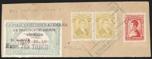 "Sale Number 1213, Lot Number 603, 1921-23 Provisional Surcharges (by Colomphil No.)COLOMBIA, 1921, ""Valor $0.10"" on 50c Pale Green, Air Post Surcharge (Colomphil 5; Scott C24C), COLOMBIA, 1921, ""Valor $0.10"" on 50c Pale Green, Air Post Surcharge (Colomphil 5; Scott C24C)"