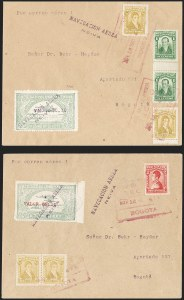 "Sale Number 1213, Lot Number 604, 1921-23 Provisional Surcharges (by Colomphil No.)COLOMBIA, 1921, ""Valor $0.10"" on 50c Pale Green, Air Post Surcharge (Colomphil 5; Scott C24C), COLOMBIA, 1921, ""Valor $0.10"" on 50c Pale Green, Air Post Surcharge (Colomphil 5; Scott C24C)"