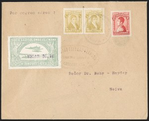 "Sale Number 1213, Lot Number 605, 1921-23 Provisional Surcharges (by Colomphil No.)COLOMBIA, 1921, ""Valor $0.10"" on 50c Pale Green, Air Post Surcharge (Colomphil 5; Scott C24C), COLOMBIA, 1921, ""Valor $0.10"" on 50c Pale Green, Air Post Surcharge (Colomphil 5; Scott C24C)"