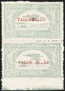 "Sale Number 1213, Lot Number 606, 1921-23 Provisional Surcharges (by Colomphil No.)COLOMBIA, 1921, ""Valor$0.10"" on 50c Pale Green, Without Spacing Between ""Valor"" and ""$0.10"", Air Post Surcharge (Colomphil 5a; Scott C24Ce), COLOMBIA, 1921, ""Valor$0.10"" on 50c Pale Green, Without Spacing Between ""Valor"" and ""$0.10"", Air Post Surcharge (Colomphil 5a; Scott C24Ce)"