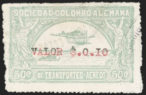 "Sale Number 1213, Lot Number 607, 1921-23 Provisional Surcharges (by Colomphil No.)COLOMBIA, 1921, ""Valor $.0.I0"" on 50c Pale Green, Extra Period and ""I"" Instead of ""1"", Air Post Surcharge (Colomphil 5b; Scott C24Cf), COLOMBIA, 1921, ""Valor $.0.I0"" on 50c Pale Green, Extra Period and ""I"" Instead of ""1"", Air Post Surcharge (Colomphil 5b; Scott C24Cf)"
