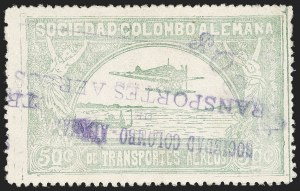 "Sale Number 1213, Lot Number 610, 1921-23 Provisional Surcharges (by Colomphil No.)COLOMBIA, 1921, ""$030c"" on 50c Pale Green, Air Post Surcharge (Colomphil 8; Scott C24), COLOMBIA, 1921, ""$030c"" on 50c Pale Green, Air Post Surcharge (Colomphil 8; Scott C24)"