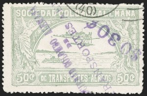 "Sale Number 1213, Lot Number 612, 1921-23 Provisional Surcharges (by Colomphil No.)COLOMBIA, 1921, ""$030c"" on 50c Pale Green, Inverted Air Post Surcharge (Colomphil 8a; Scott C24 var), COLOMBIA, 1921, ""$030c"" on 50c Pale Green, Inverted Air Post Surcharge (Colomphil 8a; Scott C24 var)"