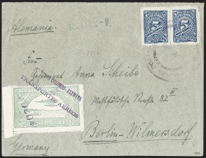 "Sale Number 1213, Lot Number 613, 1921-23 Provisional Surcharges (by Colomphil No.)COLOMBIA, 1921, ""$030c"" on 50c Pale Green, Inverted Air Post Surcharge (Colomphil 8a; Scott C24), COLOMBIA, 1921, ""$030c"" on 50c Pale Green, Inverted Air Post Surcharge (Colomphil 8a; Scott C24)"