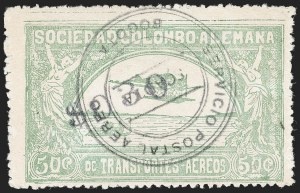 "Sale Number 1213, Lot Number 614, 1921-23 Provisional Surcharges (by Colomphil No.)COLOMBIA, 1921, ""$030"" on 50c Pale Green, Air Post Surcharge (Colomphil 9; Scott C23), COLOMBIA, 1921, ""$030"" on 50c Pale Green, Air Post Surcharge (Colomphil 9; Scott C23)"