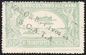 "Sale Number 1213, Lot Number 615, 1921-23 Provisional Surcharges (by Colomphil No.)COLOMBIA, 1921, ""Valor 30 ctvos, S.C.A.D.T.A."" on 50c Pale Green, Air Post Surcharge (Colomphil 10; Scott C21), COLOMBIA, 1921, ""Valor 30 ctvos, S.C.A.D.T.A."" on 50c Pale Green, Air Post Surcharge (Colomphil 10; Scott C21)"