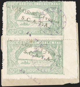 "Sale Number 1213, Lot Number 618, 1921-23 Provisional Surcharges (by Colomphil No.)COLOMBIA, 1921, ""Valor 30 ctvos, S.C.A.D.T.A."" on 50c Pale Green, Air Post Surcharge (Colomphil 10; Scott C21), COLOMBIA, 1921, ""Valor 30 ctvos, S.C.A.D.T.A."" on 50c Pale Green, Air Post Surcharge (Colomphil 10; Scott C21)"