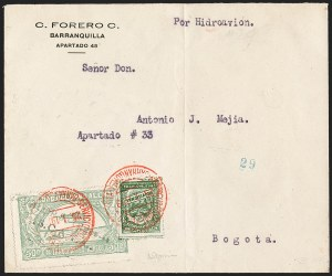 "Sale Number 1213, Lot Number 620, 1921-23 Provisional Surcharges (by Colomphil No.)COLOMBIA, 1921, ""Valor 30 ctvos, S.C.A.D.T.A."" on 50c Pale Green, Air Post Surcharge (Colomphil 10; Scott C21), COLOMBIA, 1921, ""Valor 30 ctvos, S.C.A.D.T.A."" on 50c Pale Green, Air Post Surcharge (Colomphil 10; Scott C21)"