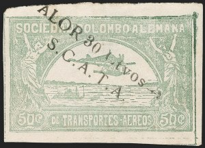 "Sale Number 1213, Lot Number 621, 1921-23 Provisional Surcharges (by Colomphil No.)COLOMBIA, 1921, ""Valor 30 ctvos, S.C.A.D.T.A."" on 50c Pale Green, Imperforate, Air Post Surcharge (Colomphil 10b; Scott C21 var), COLOMBIA, 1921, ""Valor 30 ctvos, S.C.A.D.T.A."" on 50c Pale Green, Imperforate, Air Post Surcharge (Colomphil 10b; Scott C21 var)"