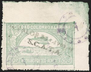 "Sale Number 1213, Lot Number 622, 1921-23 Provisional Surcharges (by Colomphil No.)COLOMBIA, 1921, ""Valor 30 ctvos, S.C.A.D.T.A."" on 50c Pale Green, Double Surcharge (Colomphil 10 var; Scott C21), COLOMBIA, 1921, ""Valor 30 ctvos, S.C.A.D.T.A."" on 50c Pale Green, Double Surcharge (Colomphil 10 var; Scott C21)"
