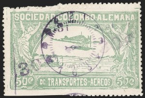 "Sale Number 1213, Lot Number 623, 1921-23 Provisional Surcharges (by Colomphil No.)COLOMBIA, 1921, ""30c 30c"" on 50c Pale Green, Air Post Surcharge (Colomphil 11; Scott C22 var), COLOMBIA, 1921, ""30c 30c"" on 50c Pale Green, Air Post Surcharge (Colomphil 11; Scott C22 var)"