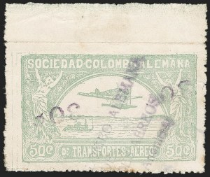 "Sale Number 1213, Lot Number 624, 1921-23 Provisional Surcharges (by Colomphil No.)COLOMBIA, 1921, ""30c 30c"" on 50c Pale Green, Inverted Air Post Surcharge (Colomphil 11a; Scott C22 var), COLOMBIA, 1921, ""30c 30c"" on 50c Pale Green, Inverted Air Post Surcharge (Colomphil 11a; Scott C22 var)"