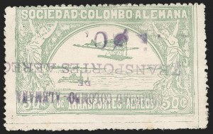 "Sale Number 1213, Lot Number 625, 1921-23 Provisional Surcharges (by Colomphil No.)COLOMBIA, 1921, ""30c"" on 50c Pale Green, Air Post Surcharge (Colomphil 12; Scott C22b), COLOMBIA, 1921, ""30c"" on 50c Pale Green, Air Post Surcharge (Colomphil 12; Scott C22b)"