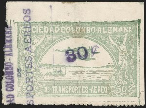 "Sale Number 1213, Lot Number 626, 1921-23 Provisional Surcharges (by Colomphil No.)COLOMBIA, 1921, ""30c"" on 50c Pale Green, Air Post Surcharge (Colomphil 12; Scott C22b), COLOMBIA, 1921, ""30c"" on 50c Pale Green, Air Post Surcharge (Colomphil 12; Scott C22b)"