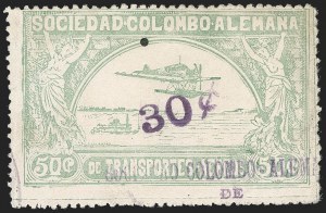 "Sale Number 1213, Lot Number 627, 1921-23 Provisional Surcharges (by Colomphil No.)COLOMBIA, 1921, ""30c"" on 50c Pale Green, Air Post Surcharge (Colomphil 12; Scott C22b), COLOMBIA, 1921, ""30c"" on 50c Pale Green, Air Post Surcharge (Colomphil 12; Scott C22b)"