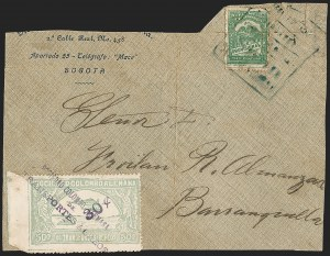 "Sale Number 1213, Lot Number 628, 1921-23 Provisional Surcharges (by Colomphil No.)COLOMBIA, 1921, ""30c"" on 50c Pale Green, Air Post Surcharge (Colomphil 12; Scott C22b), COLOMBIA, 1921, ""30c"" on 50c Pale Green, Air Post Surcharge (Colomphil 12; Scott C22b)"