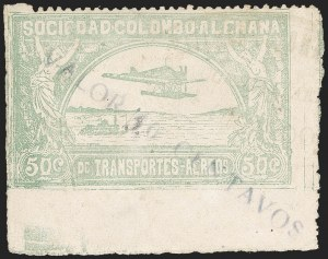"Sale Number 1213, Lot Number 629, 1921-23 Provisional Surcharges (by Colomphil No.)COLOMBIA, 1921, ""Valor 10 Centavos"" on 50c Pale Green, Inverted ""1"" of ""10"" and ""3"" Handstamp, Air Post Surcharge (Colomphil 15; Scott C18 var), COLOMBIA, 1921, ""Valor 10 Centavos"" on 50c Pale Green, Inverted ""1"" of ""10"" and ""3"" Handstamp, Air Post Surcharge (Colomphil 15; Scott C18 var)"