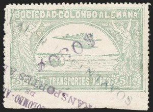 "Sale Number 1213, Lot Number 630, 1921-23 Provisional Surcharges (by Colomphil No.)COLOMBIA, 1921, ""$030c"" (Inverted) on ""Valor 10 Centavos"" on 50c Pale Green, Air Post Surcharge (Colomphil 16), COLOMBIA, 1921, ""$030c"" (Inverted) on ""Valor 10 Centavos"" on 50c Pale Green, Air Post Surcharge (Colomphil 16)"
