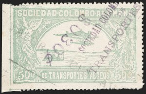 "Sale Number 1213, Lot Number 631, 1921-23 Provisional Surcharges (by Colomphil No.)COLOMBIA, 1921, ""$030c"" (Inverted) on ""Valor 10 Centavos"" on 50c Pale Green, Air Post Surcharge (Colomphil 16), COLOMBIA, 1921, ""$030c"" (Inverted) on ""Valor 10 Centavos"" on 50c Pale Green, Air Post Surcharge (Colomphil 16)"