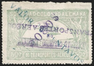 "Sale Number 1213, Lot Number 632, 1921-23 Provisional Surcharges (by Colomphil No.)COLOMBIA, 1921, ""$030c"" (Inverted) on ""Valor 10 Centavos"" on 50c Pale Green, Air Post Surcharge (Colomphil 16), COLOMBIA, 1921, ""$030c"" (Inverted) on ""Valor 10 Centavos"" on 50c Pale Green, Air Post Surcharge (Colomphil 16)"