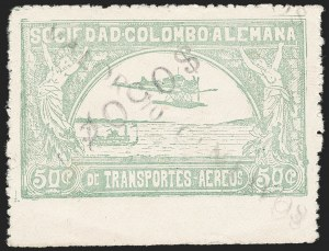 "Sale Number 1213, Lot Number 633, 1921-23 Provisional Surcharges (by Colomphil No.)COLOMBIA, 1921, ""$050c"" (Inverted) on ""Valor 10 Centavos"" on 50c Pale Green, Air Post Surcharge (Colomphil 18), COLOMBIA, 1921, ""$050c"" (Inverted) on ""Valor 10 Centavos"" on 50c Pale Green, Air Post Surcharge (Colomphil 18)"