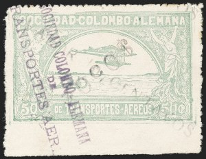"Sale Number 1213, Lot Number 634, 1921-23 Provisional Surcharges (by Colomphil No.)COLOMBIA, 1921, ""$050c"" (Inverted) on ""Valor 10 Centavos"" on 50c Pale Green, Air Post Surcharge (Colomphil 18), COLOMBIA, 1921, ""$050c"" (Inverted) on ""Valor 10 Centavos"" on 50c Pale Green, Air Post Surcharge (Colomphil 18)"