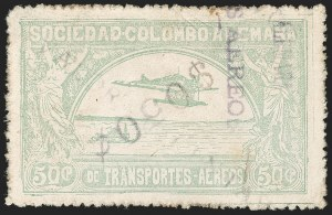 "Sale Number 1213, Lot Number 635, 1921-23 Provisional Surcharges (by Colomphil No.)COLOMBIA, 1921, ""$050c"" (Inverted) on ""Valor 10 Centavos"" on 50c Pale Green, Air Post Surcharge (Colomphil 18), COLOMBIA, 1921, ""$050c"" (Inverted) on ""Valor 10 Centavos"" on 50c Pale Green, Air Post Surcharge (Colomphil 18)"