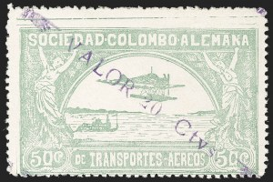"Sale Number 1213, Lot Number 636, 1921-23 Provisional Surcharges (by Colomphil No.)COLOMBIA, 1921, (Hand) ""Valor 20 Ctvs."" (Hand) on 50c Pale Green, Air Post Surcharge (Colomphil 19; Scott C36), COLOMBIA, 1921, (Hand) ""Valor 20 Ctvs."" (Hand) on 50c Pale Green, Air Post Surcharge (Colomphil 19; Scott C36)"