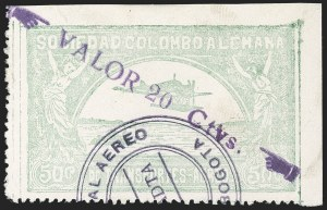 "Sale Number 1213, Lot Number 637, 1921-23 Provisional Surcharges (by Colomphil No.)COLOMBIA, 1921, (Hand) ""Valor 20 Ctvs."" (Hand) on 50c Pale Green, Air Post Surcharge (Colomphil 19; Scott C36), COLOMBIA, 1921, (Hand) ""Valor 20 Ctvs."" (Hand) on 50c Pale Green, Air Post Surcharge (Colomphil 19; Scott C36)"