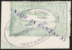 "Sale Number 1213, Lot Number 640, 1921-23 Provisional Surcharges (by Colomphil No.)COLOMBIA, 1921, ""Valor 30 Centavos"" on 50c Pale Green, Air Post Surcharge (Colomphil 20; Scott C20), COLOMBIA, 1921, ""Valor 30 Centavos"" on 50c Pale Green, Air Post Surcharge (Colomphil 20; Scott C20)"