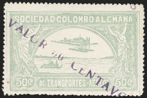 "Sale Number 1213, Lot Number 643, 1921-23 Provisional Surcharges (by Colomphil No.)COLOMBIA, 1921, ""Valor 30 Centavos"" on 50c Pale Green, Short ""A"" in ""Valor"", Air Post Surcharge (Colomphil 20b; Scott C20 var), COLOMBIA, 1921, ""Valor 30 Centavos"" on 50c Pale Green, Short ""A"" in ""Valor"", Air Post Surcharge (Colomphil 20b; Scott C20 var)"