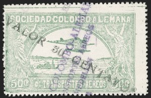 "Sale Number 1213, Lot Number 644, 1921-23 Provisional Surcharges (by Colomphil No.)COLOMBIA, 1921, ""Valor 30 Centavos"" on 50c Pale Green, Double Black Air Post Surcharge (Colomphil 20 var; Scott C20 var), COLOMBIA, 1921, ""Valor 30 Centavos"" on 50c Pale Green, Double Black Air Post Surcharge (Colomphil 20 var; Scott C20 var)"