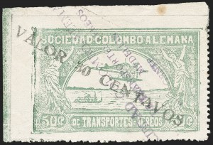 "Sale Number 1213, Lot Number 645, 1921-23 Provisional Surcharges (by Colomphil No.)COLOMBIA, 1921, ""Valor 30 Centavos"" on 50c Pale Green, Black Air Post Surcharge (Colomphil 21, 21a, 21b; Scott C20 vars), COLOMBIA, 1921, ""Valor 30 Centavos"" on 50c Pale Green, Black Air Post Surcharge (Colomphil 21, 21a, 21b; Scott C20 vars)"