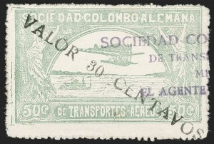 "Sale Number 1213, Lot Number 646, 1921-23 Provisional Surcharges (by Colomphil No.)COLOMBIA, 1921, ""Valor 30 Centavos"" on 50c Pale Green, Air Post Surcharge in Black (Colomphil 21; Scott C20), COLOMBIA, 1921, ""Valor 30 Centavos"" on 50c Pale Green, Air Post Surcharge in Black (Colomphil 21; Scott C20)"