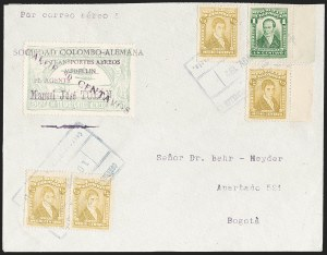 "Sale Number 1213, Lot Number 647, 1921-23 Provisional Surcharges (by Colomphil No.)COLOMBIA, 1921, ""Valor 30 Centavos"" on 50c Pale Green, Violet Air Post Surcharge (Colomphil 21; Scott C20), COLOMBIA, 1921, ""Valor 30 Centavos"" on 50c Pale Green, Violet Air Post Surcharge (Colomphil 21; Scott C20)"