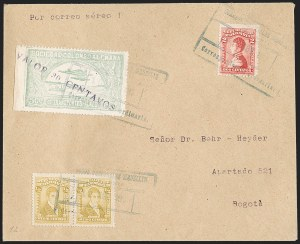 "Sale Number 1213, Lot Number 648, 1921-23 Provisional Surcharges (by Colomphil No.)COLOMBIA, 1921, ""Valor 30 Centavos"" on 50c Pale Green, Air Post Surcharge in Black (Colomphil 21; Scott C20), COLOMBIA, 1921, ""Valor 30 Centavos"" on 50c Pale Green, Air Post Surcharge in Black (Colomphil 21; Scott C20)"