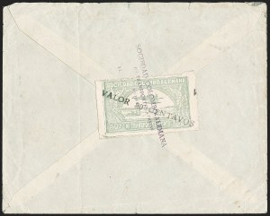 "Sale Number 1213, Lot Number 649, 1921-23 Provisional Surcharges (by Colomphil No.)COLOMBIA, 1921, ""Valor 30 Centavos"" on 50c Pale Green, Short ""A"" in ""Centavos"", Black Air Post Surcharge (Colomphil 21a; Scott C20 var), COLOMBIA, 1921, ""Valor 30 Centavos"" on 50c Pale Green, Short ""A"" in ""Centavos"", Black Air Post Surcharge (Colomphil 21a; Scott C20 var)"