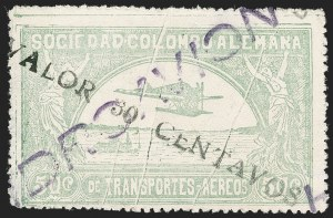 "Sale Number 1213, Lot Number 651, 1921-23 Provisional Surcharges (by Colomphil No.)COLOMBIA, 1921, ""Valor 30 Centavos"" on 50c Pale Green, Hooked ""L"" in ""Valor"", Black Air Post Surcharge (Colomphil 22; Scott C20 var), COLOMBIA, 1921, ""Valor 30 Centavos"" on 50c Pale Green, Hooked ""L"" in ""Valor"", Black Air Post Surcharge (Colomphil 22; Scott C20 var)"