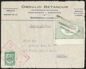 "Sale Number 1213, Lot Number 653, 1921-23 Provisional Surcharges (by Colomphil No.)COLOMBIA, 1921, ""Valor 30 Centavos"" on 50c Pale Green, Hooked ""L"" in ""Valor"", Black Air Post Surcharge (Colomphil 22; Scott C20 var), COLOMBIA, 1921, ""Valor 30 Centavos"" on 50c Pale Green, Hooked ""L"" in ""Valor"", Black Air Post Surcharge (Colomphil 22; Scott C20 var)"