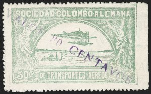 "Sale Number 1213, Lot Number 654, 1921-23 Provisional Surcharges (by Colomphil No.)COLOMBIA, 1921, ""Valor 30 Centavos"" on 50c Pale Green, Damaged Violet Air Post Surcharge (Colomphil 23; Scott C20 var), COLOMBIA, 1921, ""Valor 30 Centavos"" on 50c Pale Green, Damaged Violet Air Post Surcharge (Colomphil 23; Scott C20 var)"