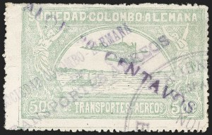 "Sale Number 1213, Lot Number 655, 1921-23 Provisional Surcharges (by Colomphil No.)COLOMBIA, 1921, ""Valor 30 Centavos"" on 50c Pale Green, Damaged Violet Air Post Surcharge (Colomphil 23; Scott C20 var), COLOMBIA, 1921, ""Valor 30 Centavos"" on 50c Pale Green, Damaged Violet Air Post Surcharge (Colomphil 23; Scott C20 var)"