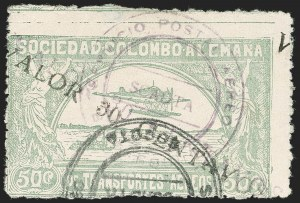 "Sale Number 1213, Lot Number 658, 1921-23 Provisional Surcharges (by Colomphil No.)COLOMBIA, 1921, ""Valor 30 Centavos"" on 50c Pale Green, Double Air Post Surcharge in Violet and Black (Colomphil 25; Scott C20 var), COLOMBIA, 1921, ""Valor 30 Centavos"" on 50c Pale Green, Double Air Post Surcharge in Violet and Black (Colomphil 25; Scott C20 var)"