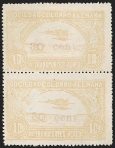 "Sale Number 1213, Lot Number 659, 1921-23 Provisional Surcharges (by Colomphil No.)COLOMBIA, 1921, ""30 cent."" on 10c Yellow (Colomphil 26; C37), COLOMBIA, 1921, ""30 cent."" on 10c Yellow (Colomphil 26; C37)"