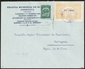 "Sale Number 1213, Lot Number 662, 1921-23 Provisional Surcharges (by Colomphil No.)COLOMBIA, 1921, ""30 cent."" on 10c Yellow (Colomphil 26a; C37), COLOMBIA, 1921, ""30 cent."" on 10c Yellow (Colomphil 26a; C37)"