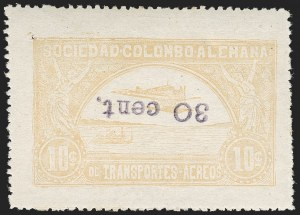 "Sale Number 1213, Lot Number 665, 1921-23 Provisional Surcharges (by Colomphil No.)COLOMBIA, 1921, ""30 cent."" on 10c Yellow, Inverted Surcharge (Colomphil 27; Scott C37 var), COLOMBIA, 1921, ""30 cent."" on 10c Yellow, Inverted Surcharge (Colomphil 27; Scott C37 var)"